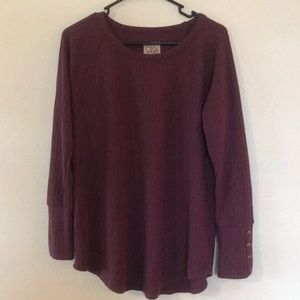 CHASER wine purple thermal with button sleeves
